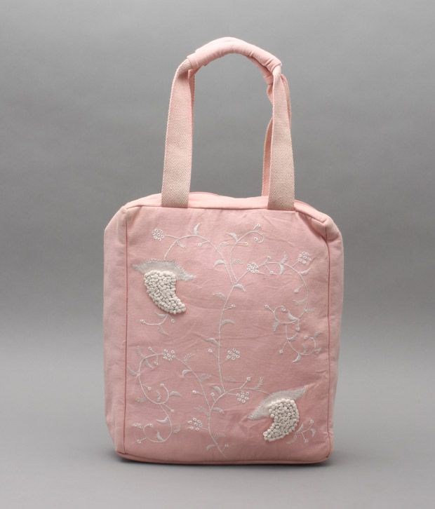 A-maze Light Pink Embroidered Handbag