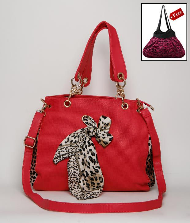 A-progeny Red Leopard Print Handbag With Free Big Canvas Bag