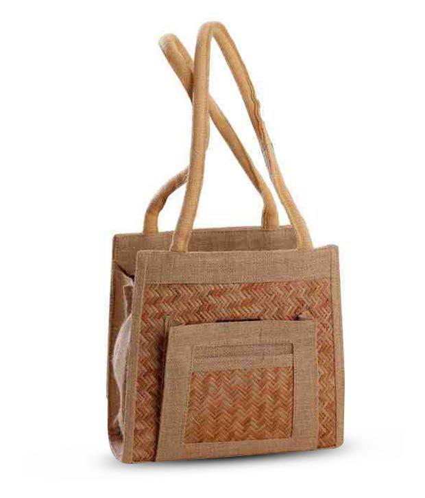 Aapno Rajasthan Brown Zigzag Cane Design Handbag