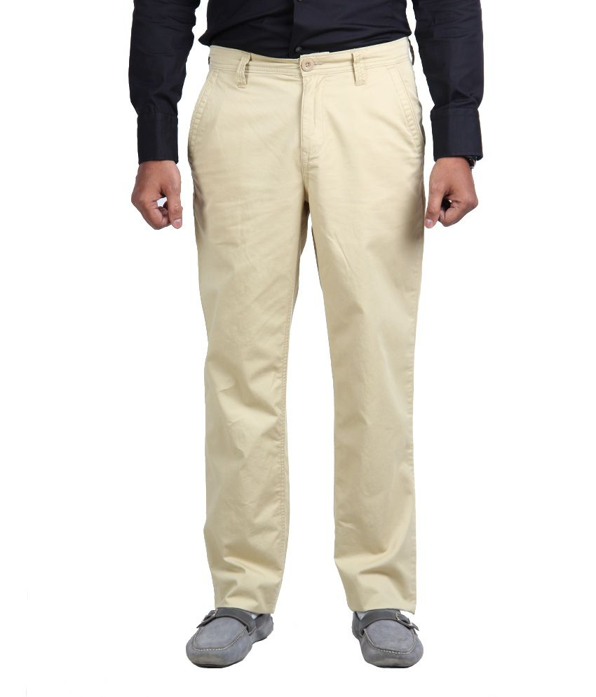 American Vintage Cotton Trouser - Regular Fit -Cream White colour