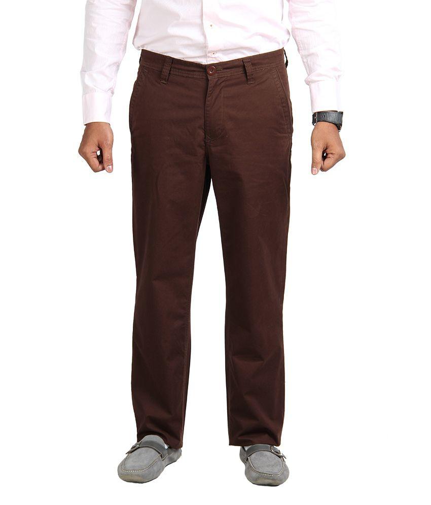 American Vintage Cotton Trouser - Regular Fit - Maroon colour