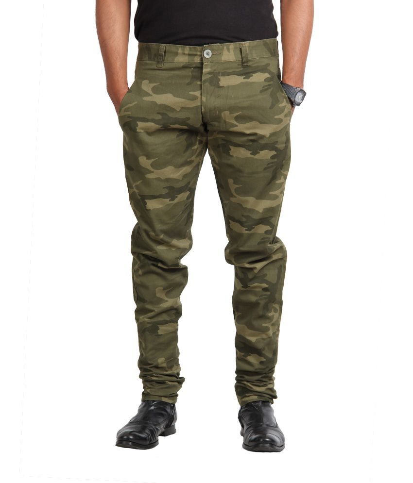 American Vintage Cotton Trouser - Slim Fit - Army Green colour