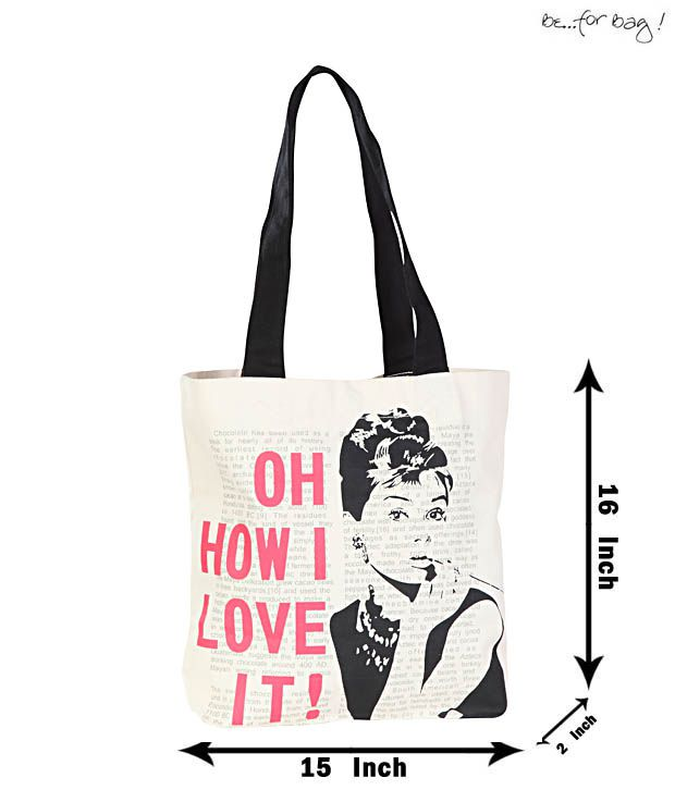 Be For Bag Black & White Audrey Hepburn Printed Handbag