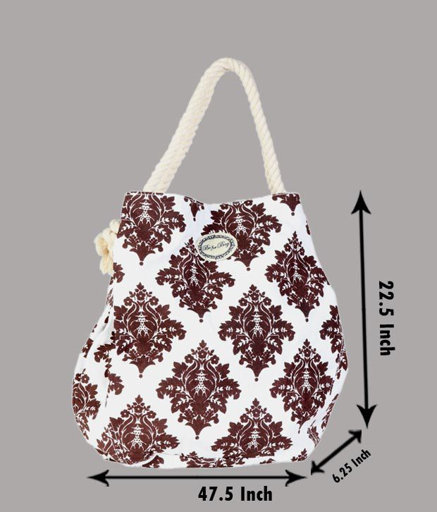 Be For Bag Brown & White Floral Print Handbag