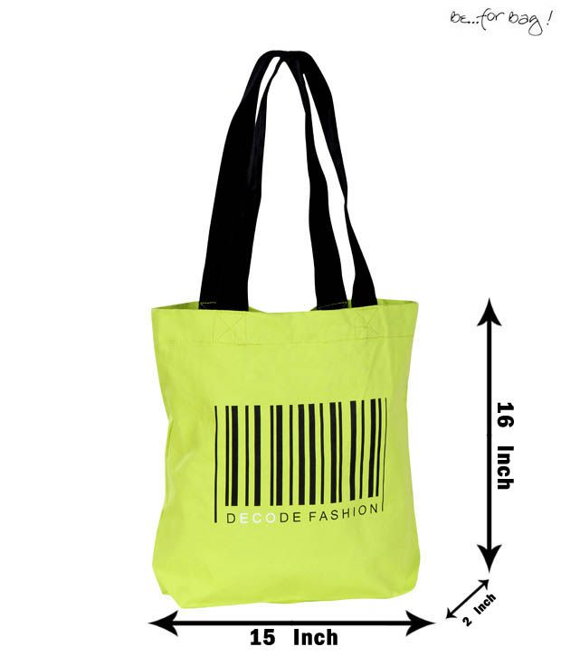 Be For Bag Gorgeous Green Barcode Print Handbag