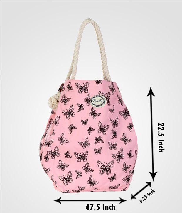 Be For Bag Naive Pink & Black Butterfly Print Handbag