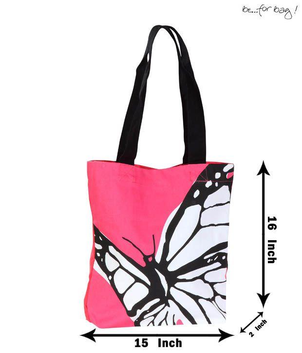 Be For Bag Pink Butterfly Print Handbag
