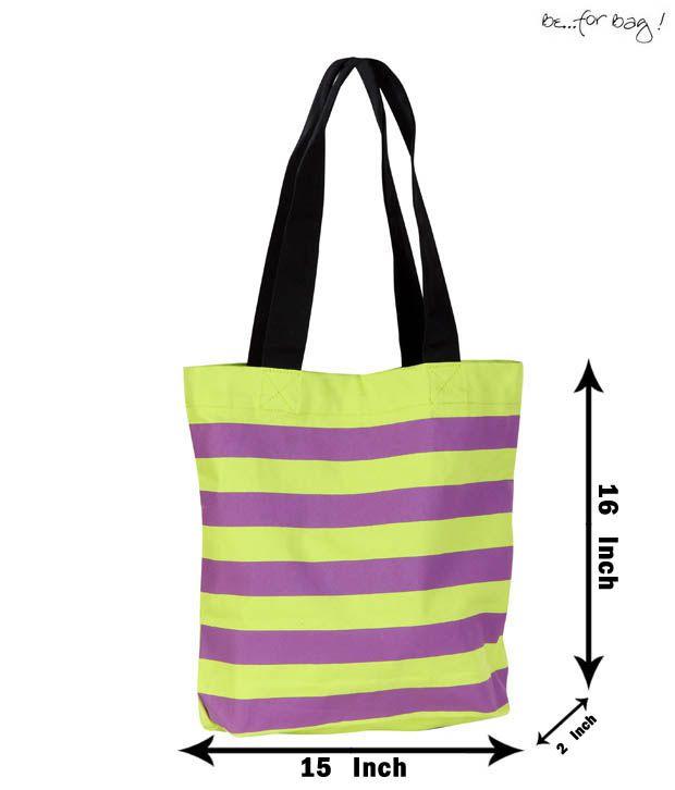Be For Bag Smart Striped Purple & Green Handbag