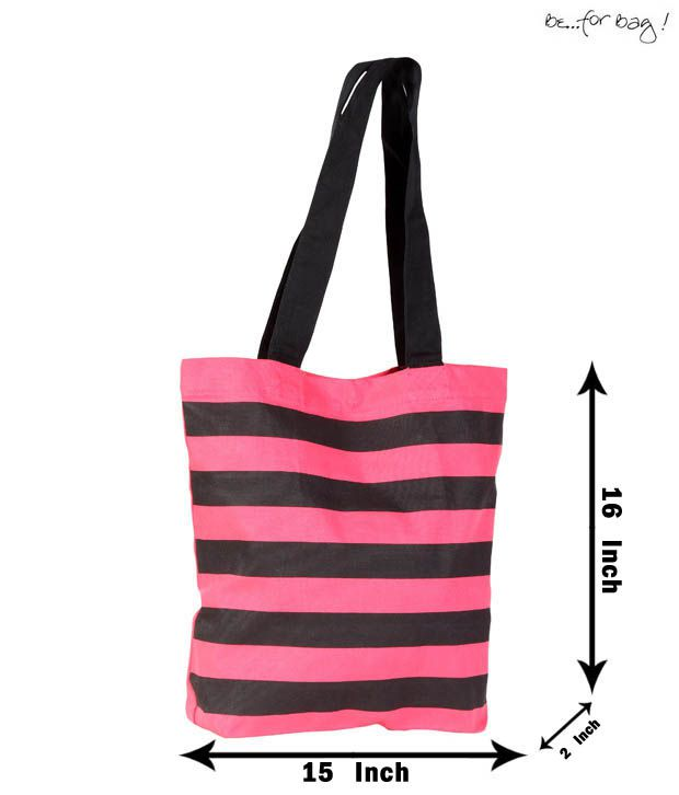 Be For Bag Striped Pink & Black Handbag