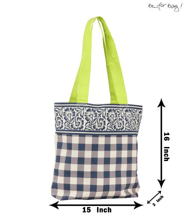 Be For Bag White-Grey Floral and Checkered Print Handbag