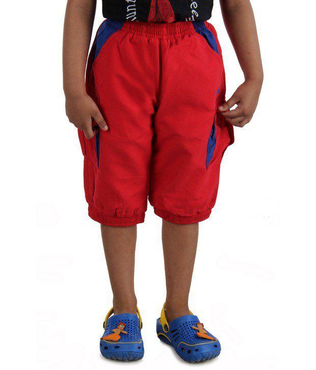 DAZZGEAR Red Color Elasticated waistband Cargo Pocket Capri For Kids