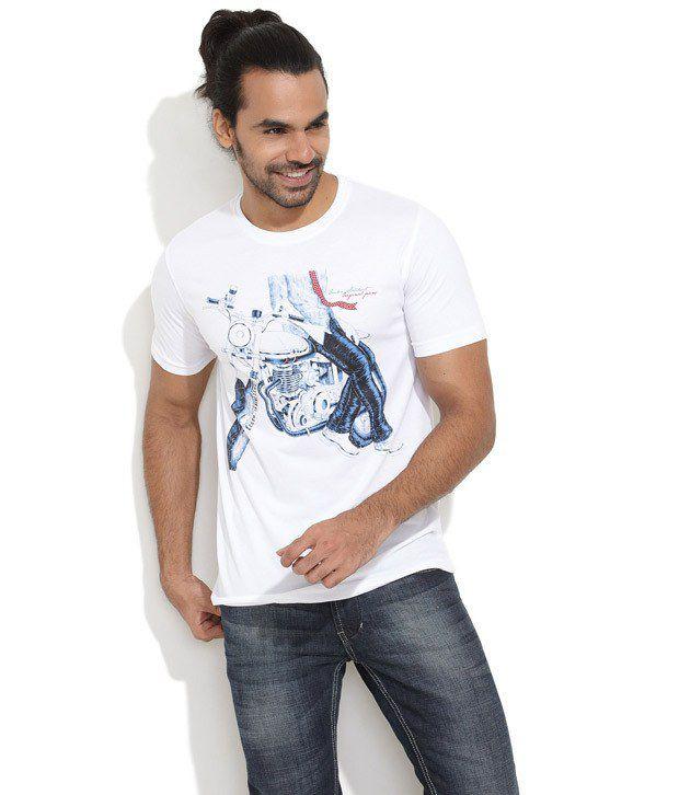 Duke White Cotton Blend  T-Shirt