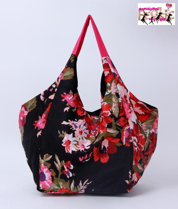 Frolic Black Floral Print Hobo Bag