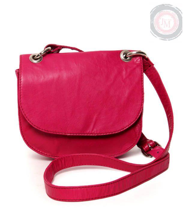 JM Pink Textured Finish Sling Bag