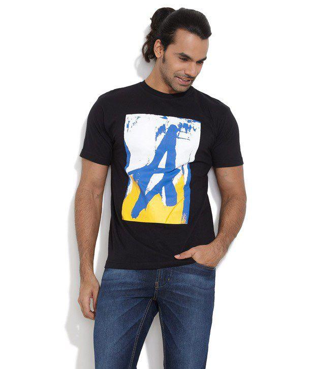 Le Bison Black Cotton  T-Shirt