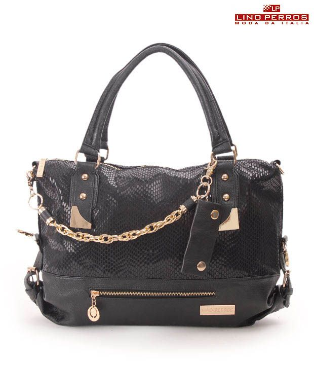 Lino Perros Shiny Black Ornamental Metal Chain Handbag