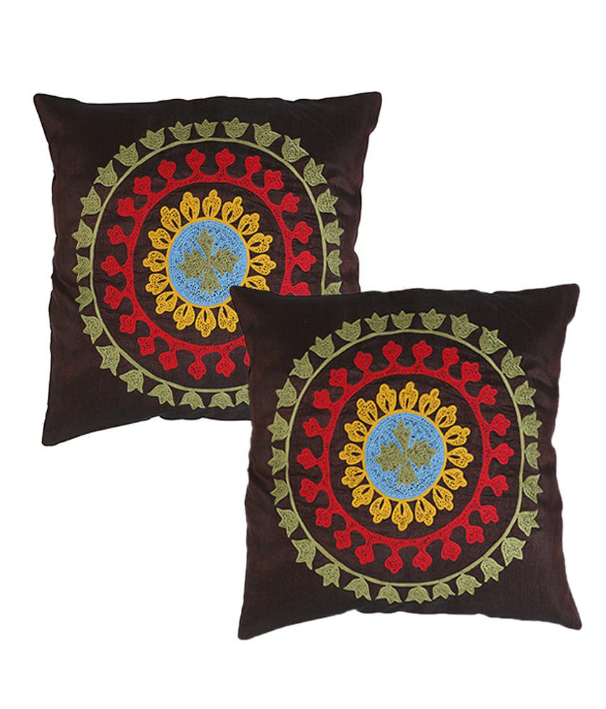 Rajrang  Embroidered Cushion Covers - (16 X 16 Inches) (Set of 2 Pcs)