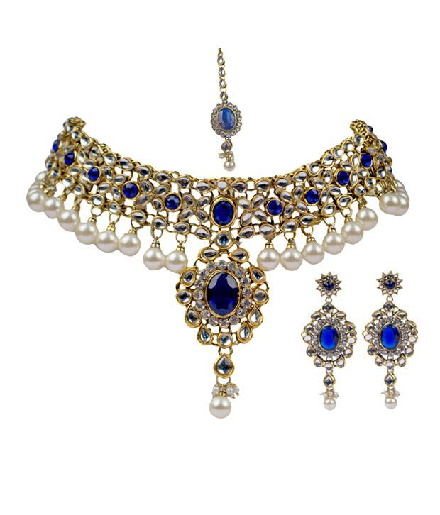 Vaishali Exquisite Royal Blue Kundan Set With Pearl Drop