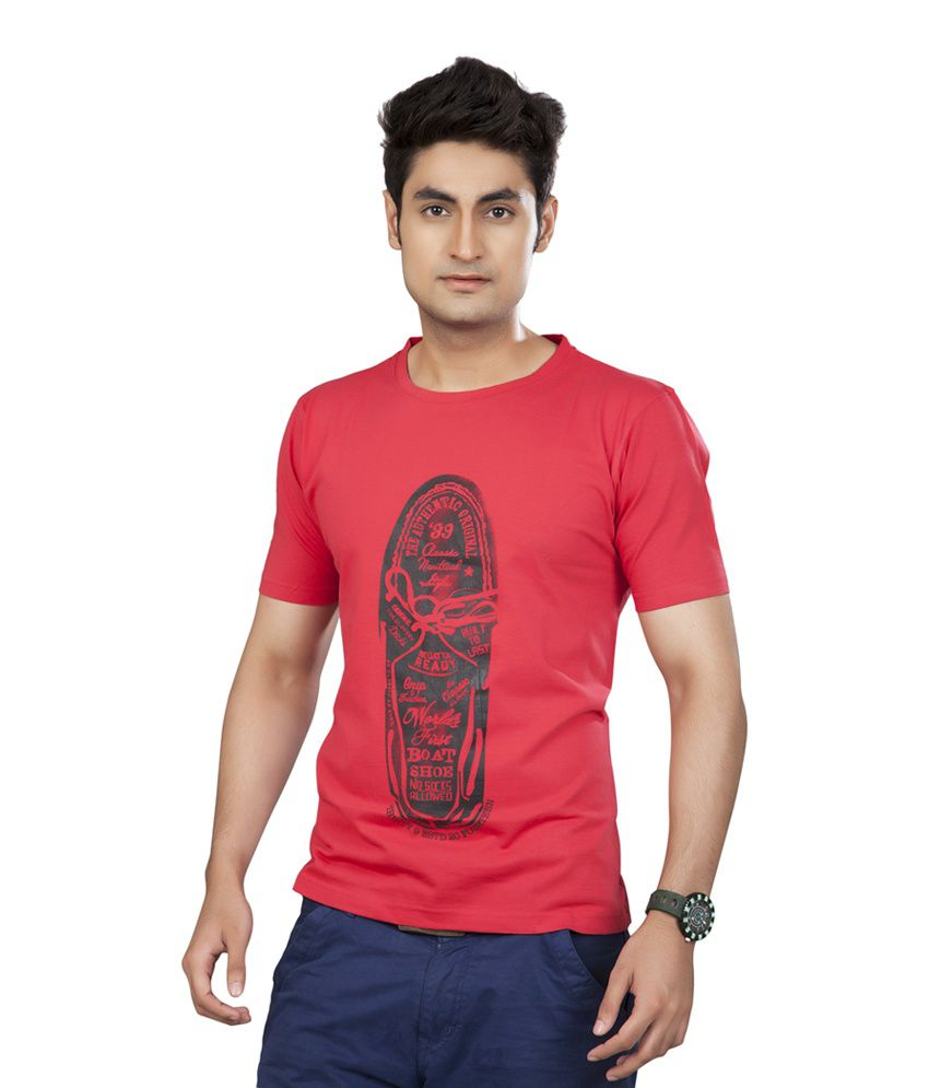 39 Red Round Neck Printed Tshirt