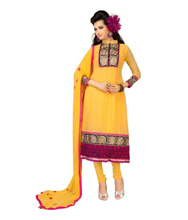 Fabdeal Yellow Colored Faux Georgette Embroidered Semi-stitched Salwar Suit