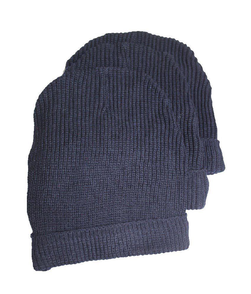 Ice Bear Navy Woollen Skull Cap Men - Pack Of 3