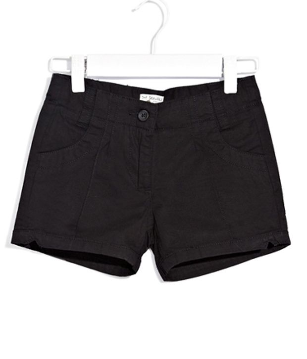 Scullers Kids Black Shorts  For Girls