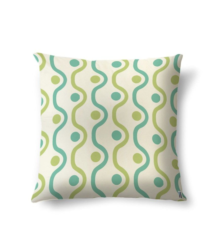 bluegape Simple Green Lines Digitally Printed Cushion Cover 1 Piece
