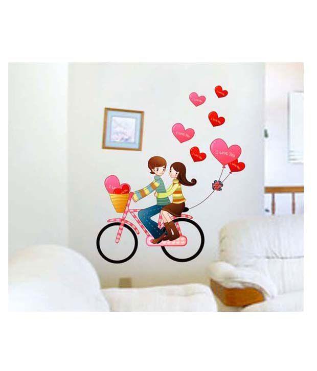 PINDIA Multicolour Love Couple Design Wall Sticker Buy PINDIA