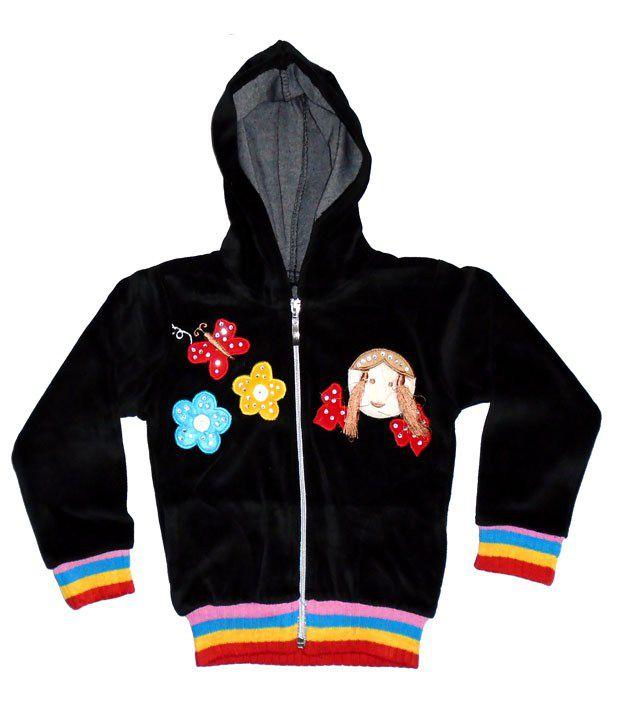Sweet Angel Full Sleeves Black Color Applique Workred Sweatshirts For Kids