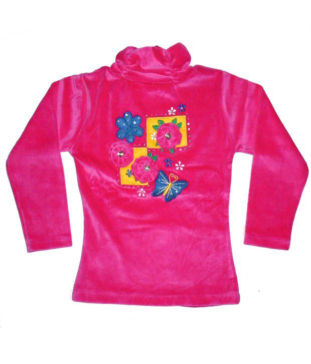 Sweet Angel Full Sleeves Pink Color Applique Workred Sweatshirts For Kids