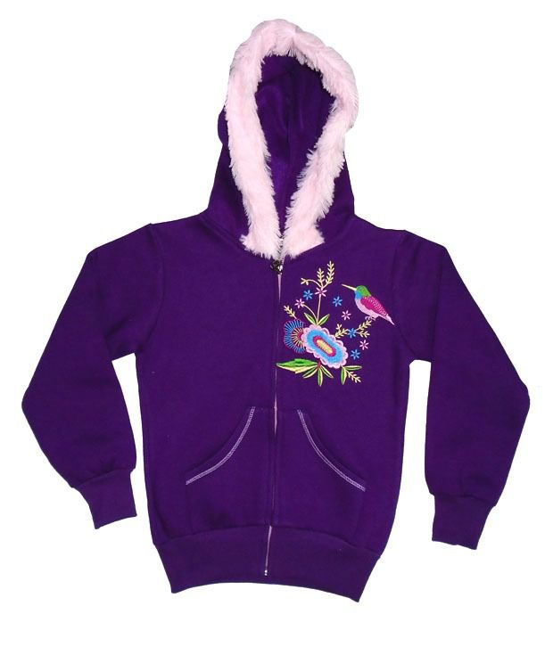 Sweet Angel Full Sleeves Purple Hooded Fleeze Jacket For Kids