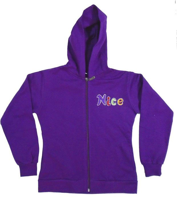 Sweet Angel Full Sleeves Purple Color Embroidered Hooded Fleeze Jacket For Kids