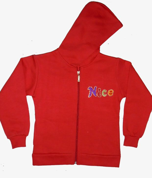 Sweet Angel Full Sleeves Red Color Embroidered Fleeze Jacket For Kids