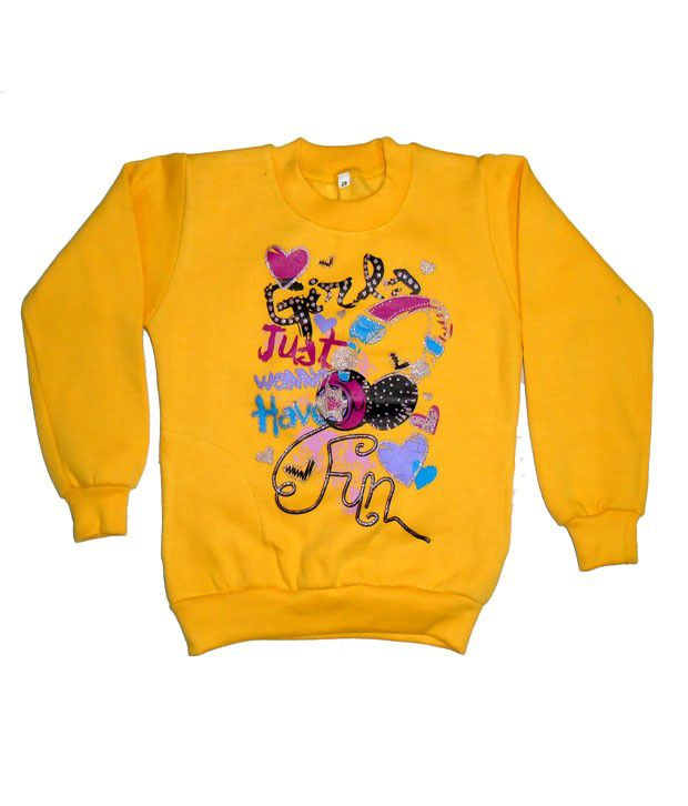 Sweet Angel Full Sleeves Yellow Color Printed Sweatshirts For Kids