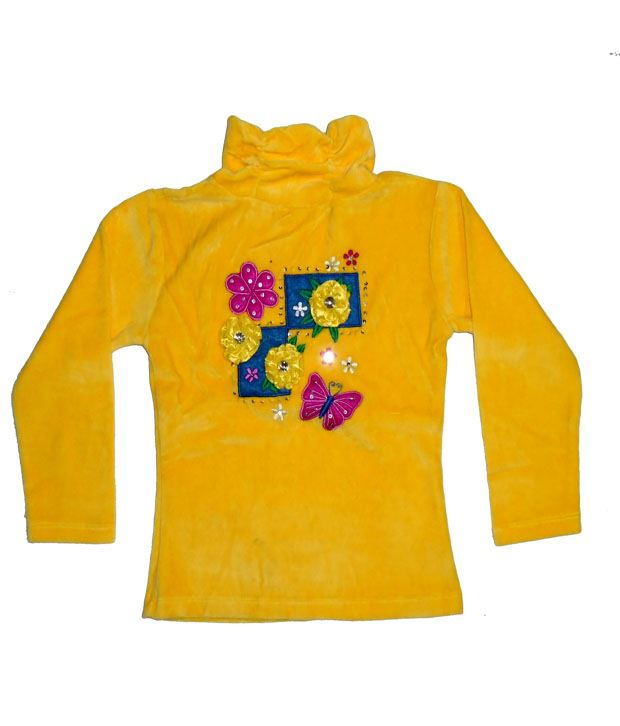 Sweet Angel Full Sleeves Yellow Color Applique Workred Sweatshirts For Kids