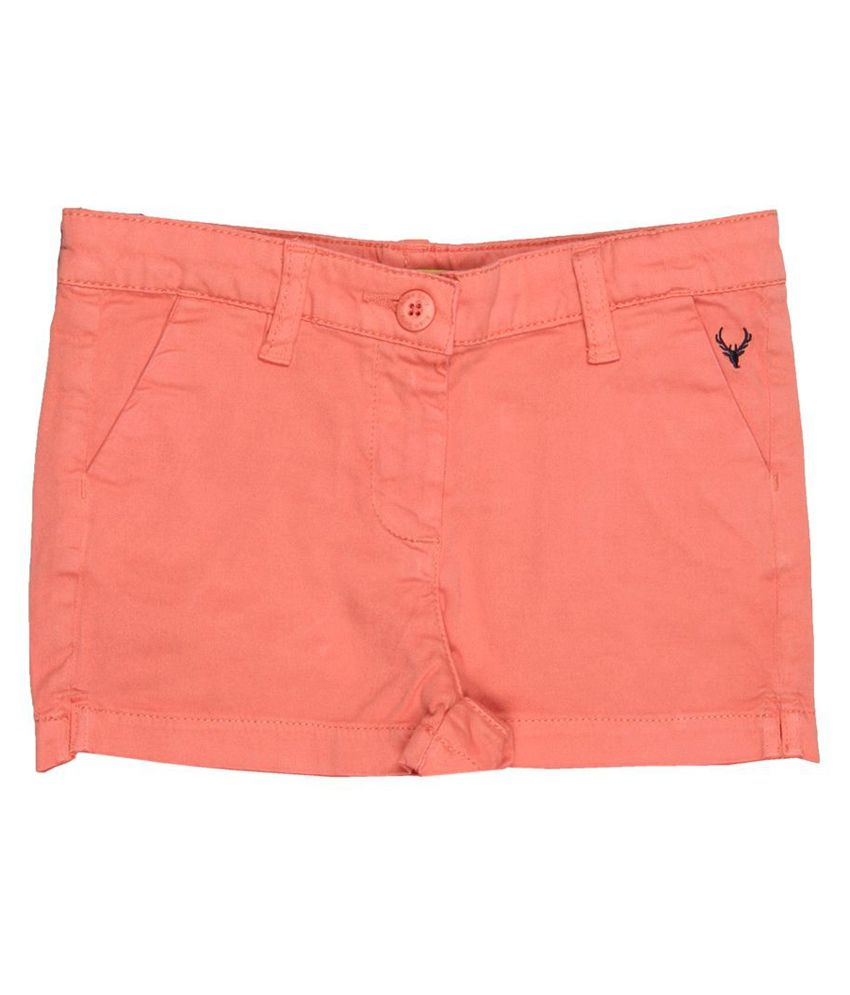 Allen Solly Orange Shorts  For Girls
