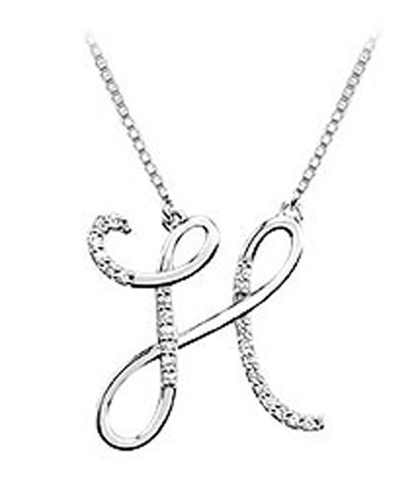 diamond letter h script initial pendant 14k white gold 0 With diamond letter h pendant