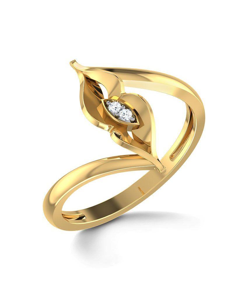 Kiss Eye Ring Hallmark 14Kt Gold with Certified SI/IJ Diamonds