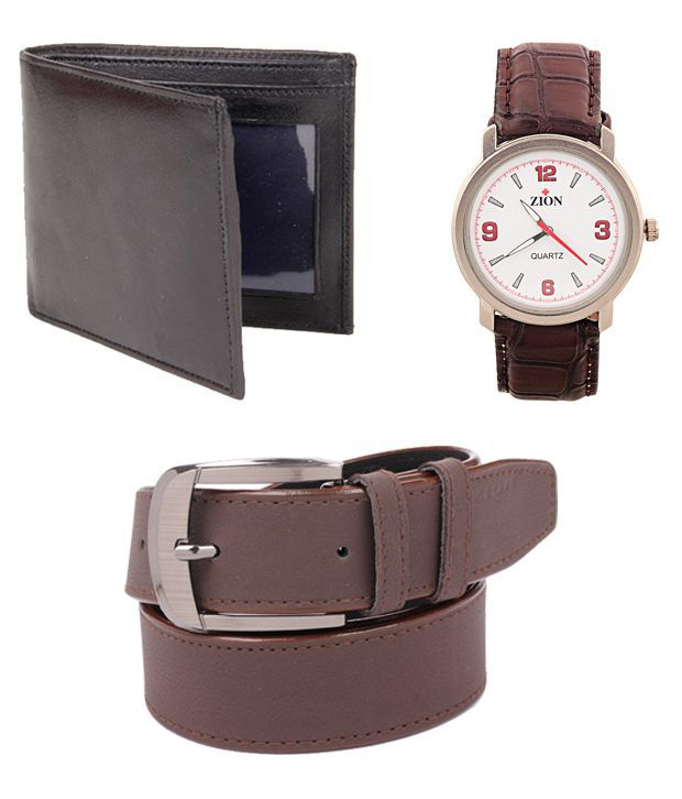 ZION Men's Brown Belt Wallet Watch combo