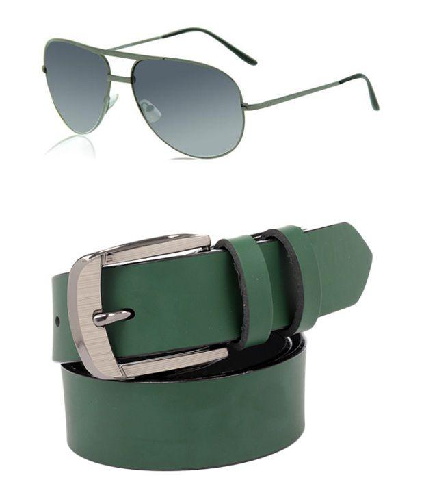 ZION Men's Exclusive Green Belt With Sunglass combo