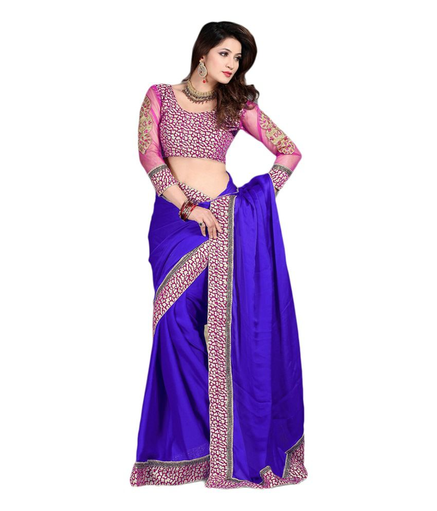 cc8fa7afb89ff7 MYFZONE Designer Partywear Satin Blue Saree with B-Velvet Pink and Golden  Lace - Buy MYFZONE Designer Partywear Satin Blue Saree with B-Velvet Pink  and ...