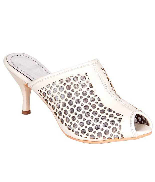 STEPpings White Stiletto Heeled Slip-On