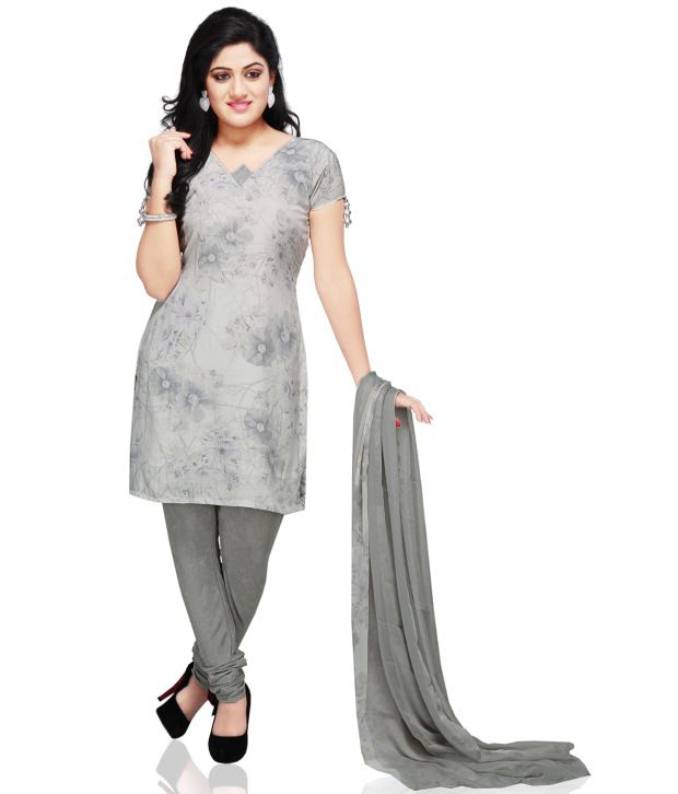 Utsav Fashion Gray Printed Pure Crepe Stitched Regular Fit  Salwar Suit