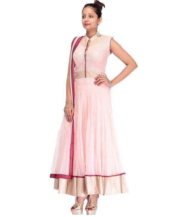 Cbazaar Pink Embroidered Net Stitched Anarkali  Salwar Suit