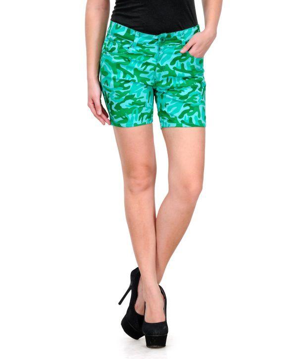 Fashion Cult Green Cotton Lycra Shorts