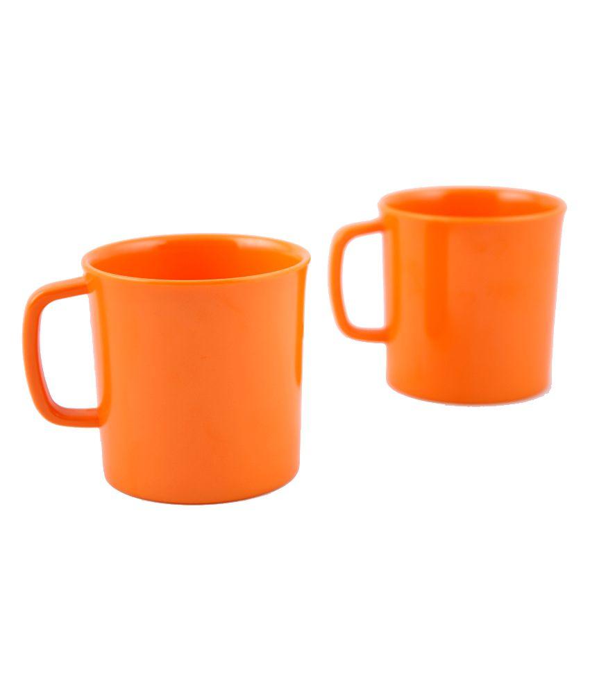 Hi Luxe Unbreakable Orange Melamine Coffee Mugs 2 Pcs