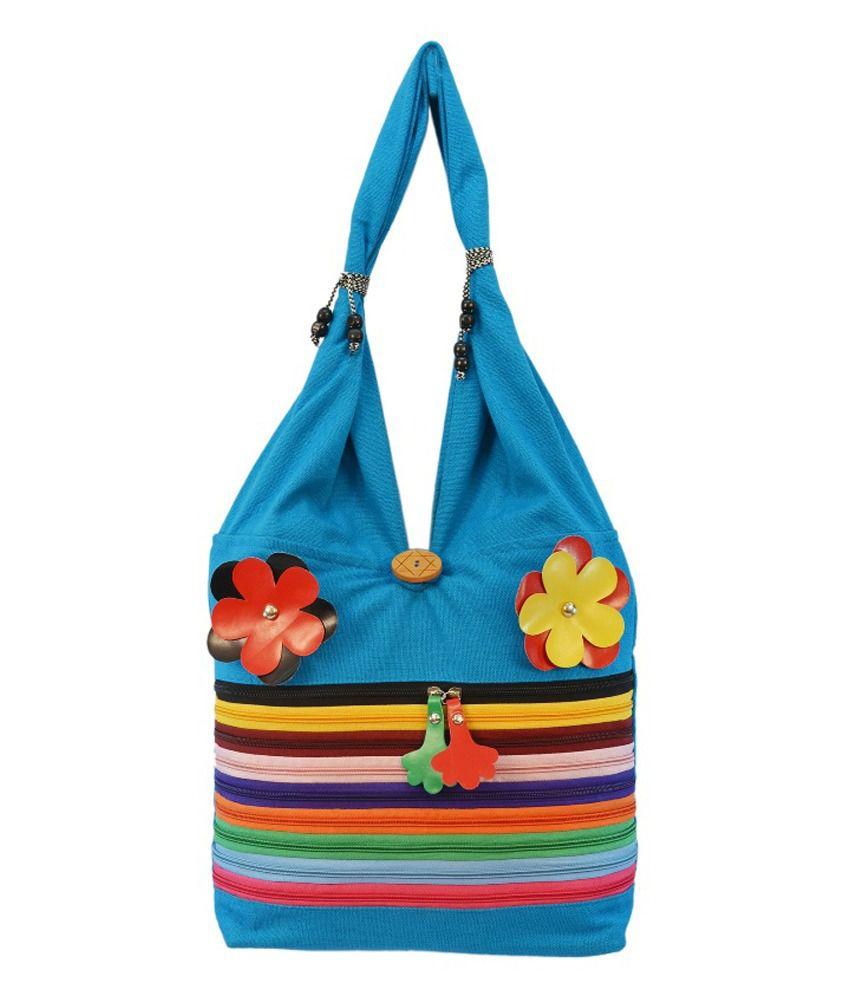 Shilpkart Canvas Zipper Style Jhola Shoulder Bag -turquoise Blue