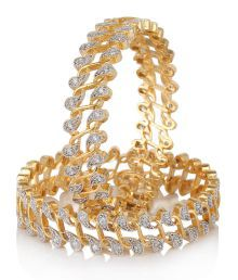 Jewels Galaxy Sparkling Floral Design American Diamond Bangles