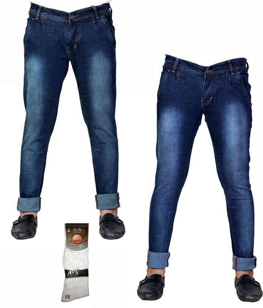 Shade-X Blue Men's Denim Cafe Stretchable Jeans Combo of 2 With Free 1 Pair Assorted socks