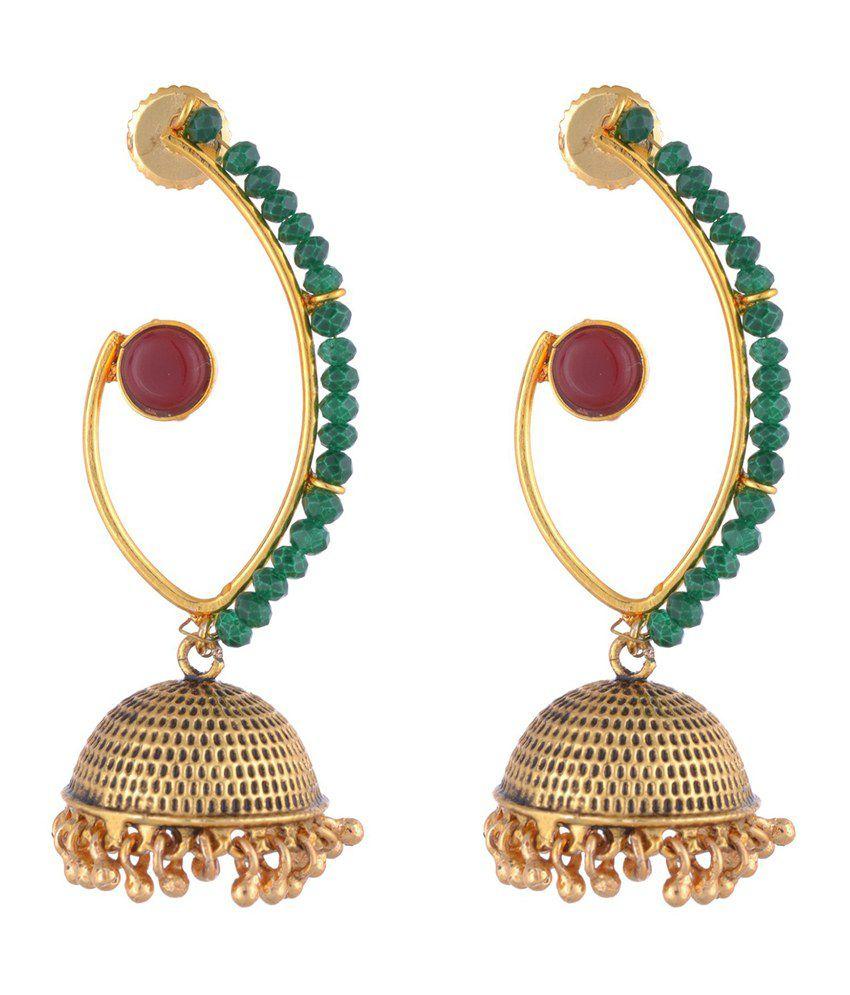 The Jewelbox Gold Plated Ruby Emerald Hanging Jhumki